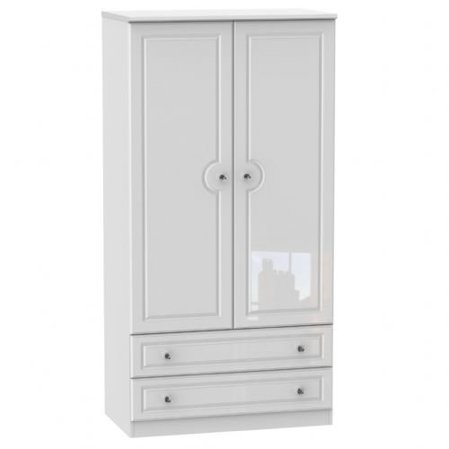 Balmoral White Gloss 3ft 2 Drawer Robe